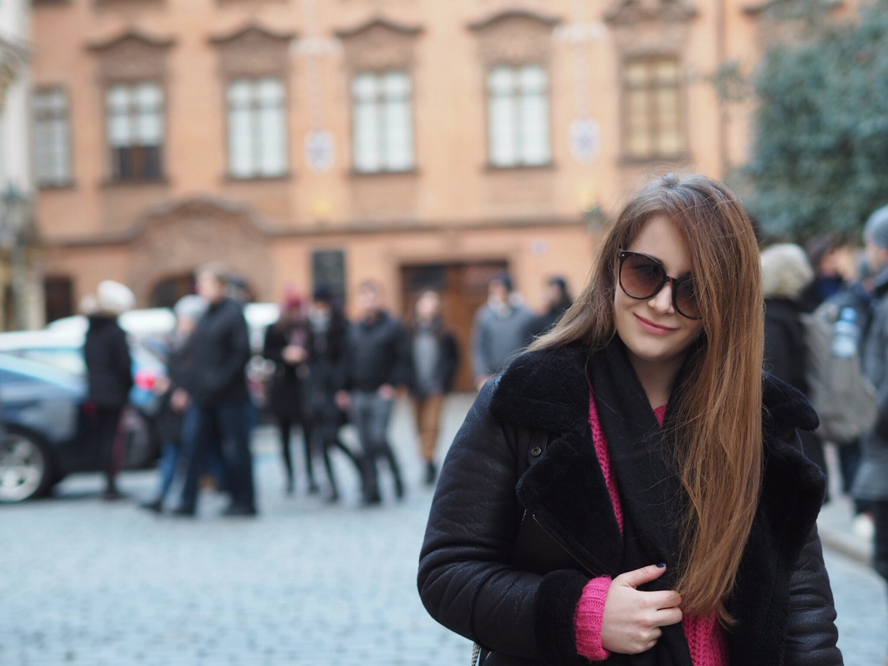 Girl in Prague street on city break