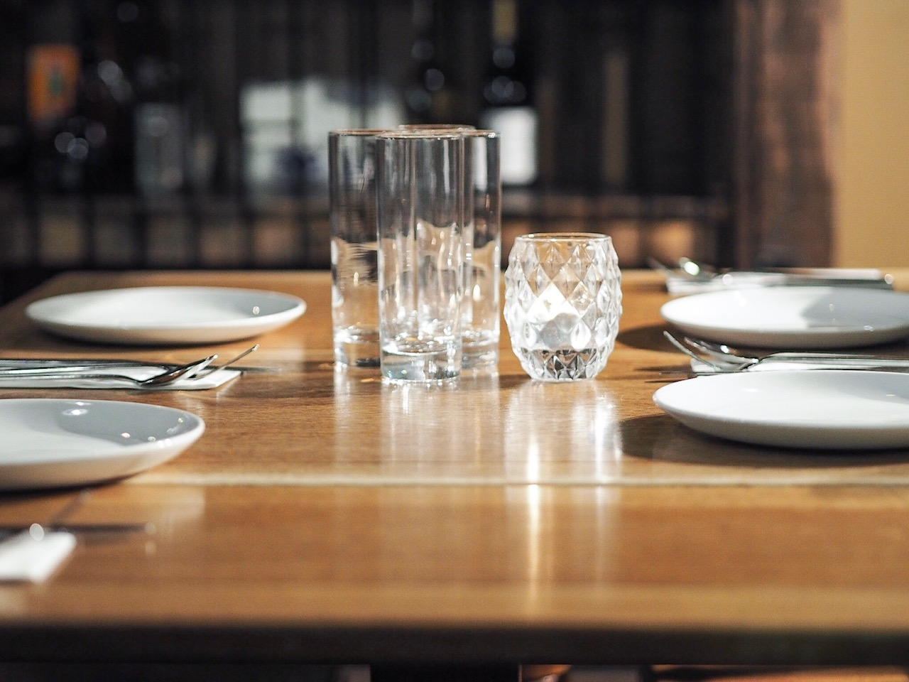 Table setting at Evuna, Manchester.