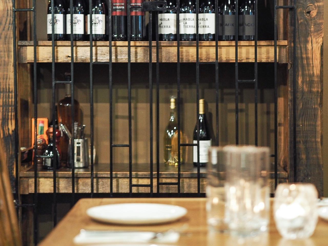 Wine racks at Evuna, Manchester.