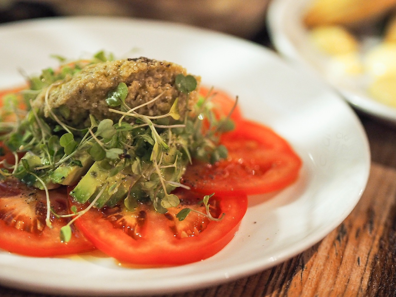 Tomato and avocado salad at Evuna, Manchester.